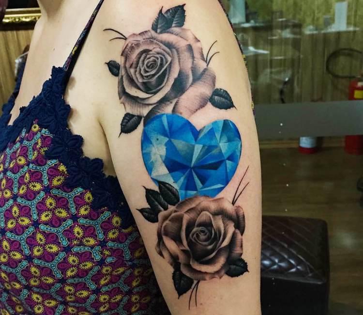 Diamond and Flower Tattoo